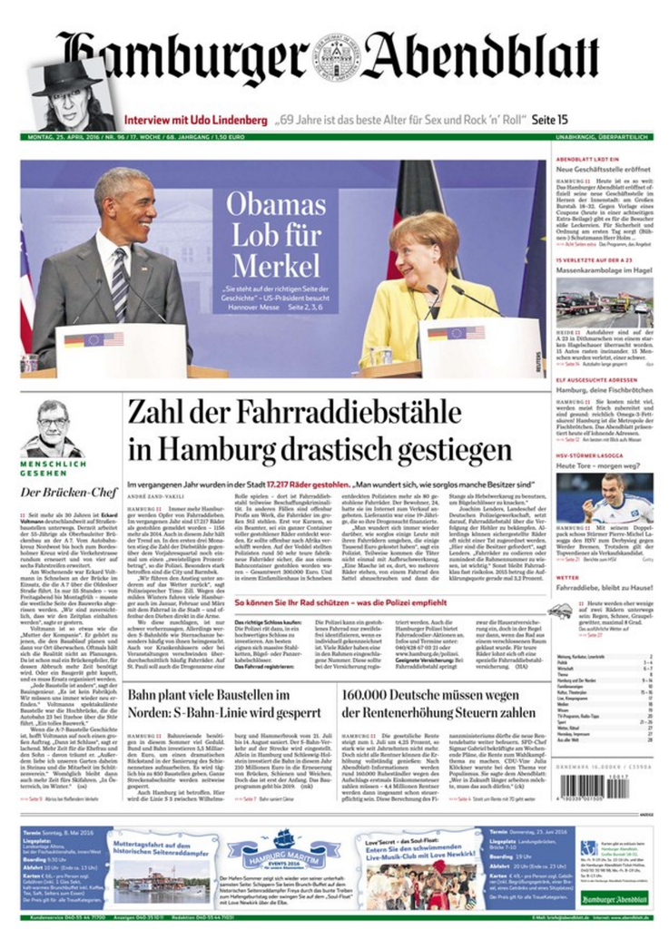Duitslan hamburgerabendblatt april 2016 cover